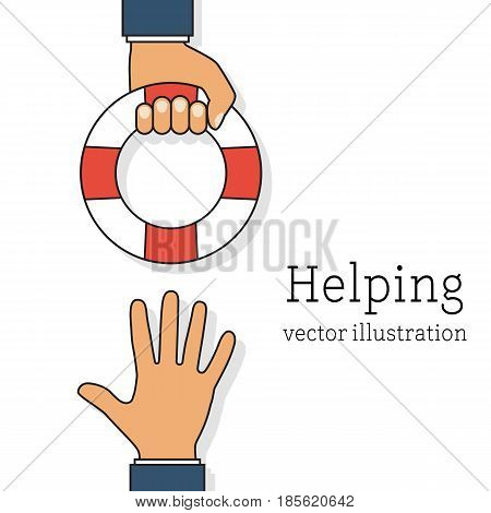Helping Business concept. Businessman holding a lifebuoy in hand. To give help to the drowning man, metaphor. Vector illustration lines flat design. Isolated on white background.