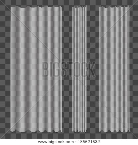Realistic Tulle Curtains on Transparent Background Classical for Decoration Home Interior Design. Vector illustration
