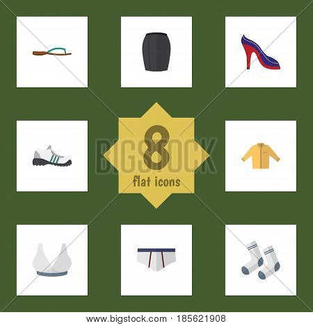 Flat Garment Set Of Stylish Apparel, Underclothes, Heeled Shoe And Other Vector Objects. Also Includes Flip, Sport, Man Elements.