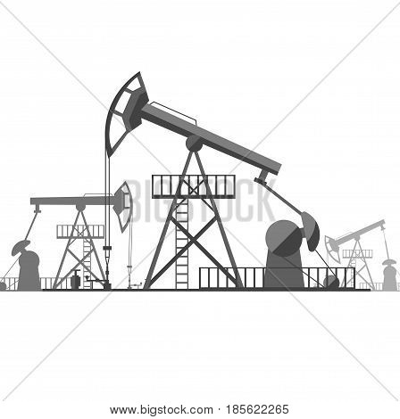 Silhouette Black Oil Derrick on Background Concept Energy Industrial Flat Design Style. Vector illustration