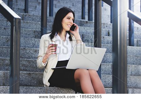 Have A Brake. Portrait Of Beautiful Business Woman In Formal Wear Talking The Phone And Drinking Cof