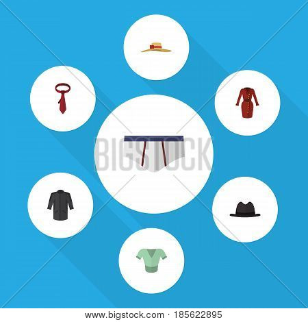 Flat Clothes Set Of Underclothes, Casual, Uniform And Other Vector Objects. Also Includes Shirt, Briefs, Cravat Elements.