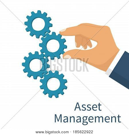 Asset management concept. Set mechanism cogwheels. Vector illustration flat design. Isolated on white background. Businessman is holding a gear in hand.