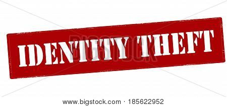 Stamp with text identity theft inside vector illustration