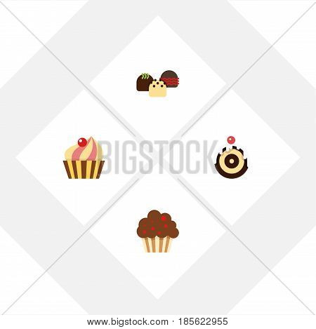 Flat Cake Set Of Pastry, Cake, Muffin And Other Vector Objects. Also Includes Sweetmeat, Muffin, Confectionery Elements.