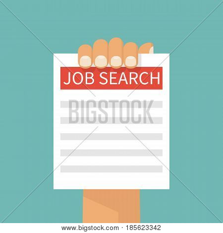 Job search. A man holds a sheet of paper with a message finding a job. Vector illustration flat design. Isolated on background.