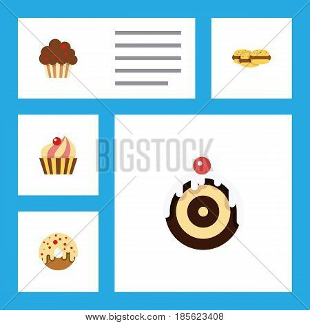 Flat Cake Set Of Biscuit, Doughnut, Sweetmeat And Other Vector Objects. Also Includes Biscuit, Cookie, Doughnut Elements.