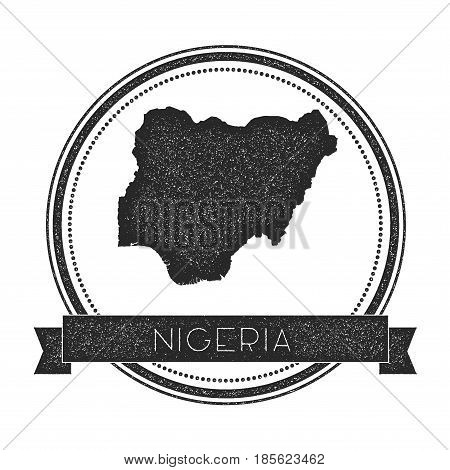 Retro Distressed Nigeria Badge With Map. Hipster Round Rubber Stamp With Country Name Banner, Vector