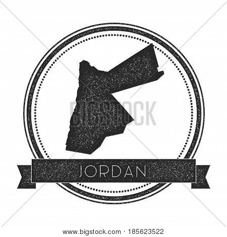 Retro Distressed Jordan Badge With Map. Hipster Round Rubber Stamp With Country Name Banner, Vector