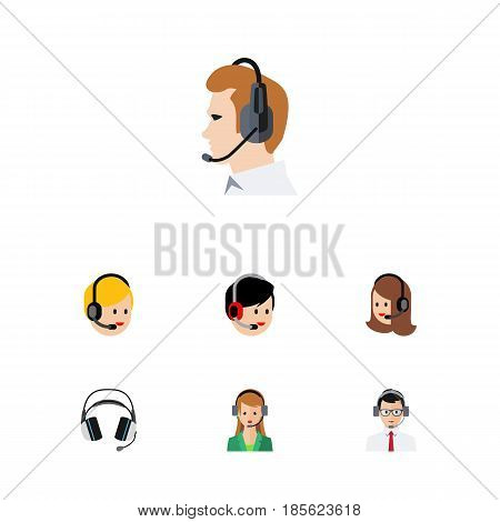 Flat Telemarketing Set Of Call Center, Service, Telemarketing And Other Vector Objects. Also Includes Support, Earphone, Telemarketing Elements.