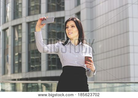 Selfie For Colleagues. Beautiful And Happy Business Woman In Smart Casual Wear Taking A Selfie Again