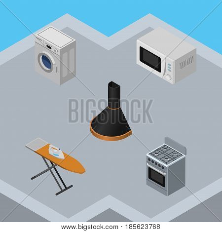 Isometric Appliance Set Of Laundry, Cloth Iron, Air Extractor And Other Vector Objects. Also Includes Extractor, Laundry, Hood Elements.