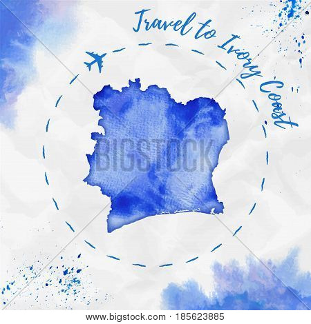 Ivory Coast Watercolor Map In Blue Colors. Travel To Ivory Coast Poster With Airplane Trace And Hand