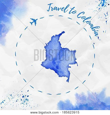 Colombia Watercolor Map In Blue Colors. Travel To Colombia Poster With Airplane Trace And Handpainte