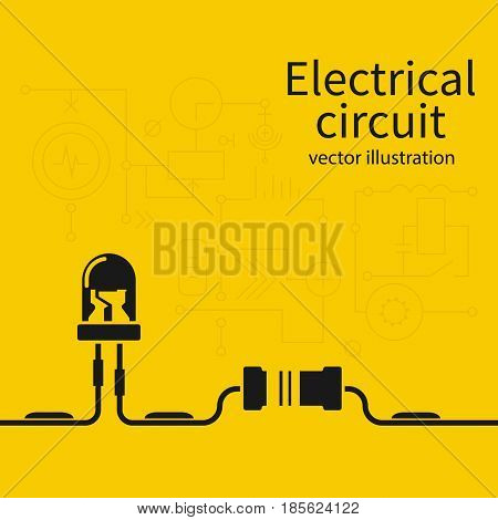 Electrical circuit template. Electronics repair pictogram, service center, workshop banner. LED and resistor silhouette connected to circuit. Vector flat design. Isolated on yellow background.