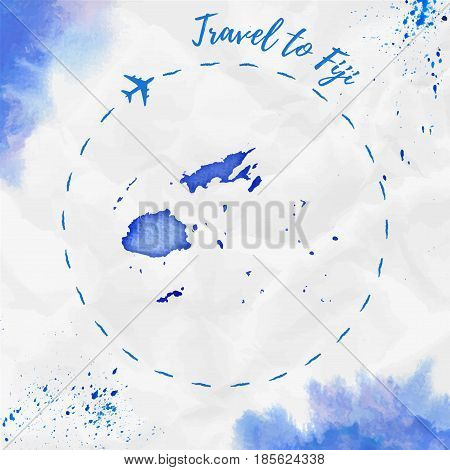Fiji Watercolor Map In Blue Colors. Travel To Fiji Poster With Airplane Trace And Handpainted Waterc