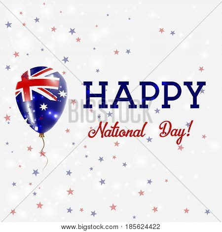 Australia National Day Patriotic Poster. Flying Rubber Balloon In Colors Of The Australian Flag. Aus