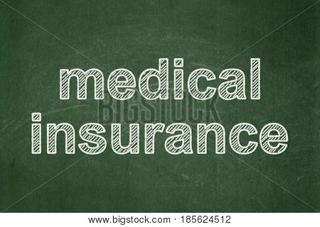 Insurance concept: text Medical Insurance on Green chalkboard background