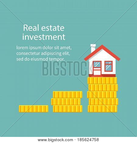 Real estate investment. Vector illustration flat design. Isolated on white background. Property growth. House on a stack of coins. Save money for home.