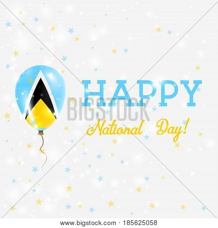 Saint Lucia National Day Patriotic Poster. Flying Rubber Balloon In Colors Of The Saint Lucian Flag.