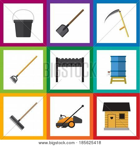 Flat  Set Of Pail, Barbecue, Stabling And Other Vector Objects. Also Includes Container, Barbecue, Mower Elements.