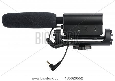 External microphone for camera isolated on a white background