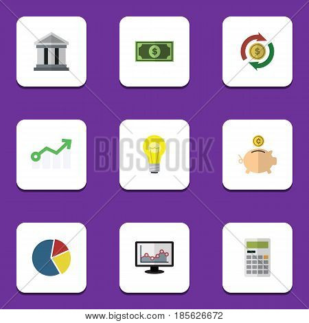 Flat Exchequer Set Of Bank, Greenback, Bubl And Other Vector Objects. Also Includes Greenback, Arrow, Swap Elements.