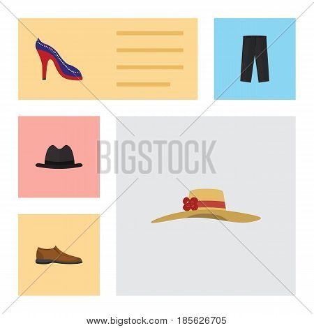 Flat Clothes Set Of Heeled Shoe, Pants, Male Footware And Other Vector Objects. Also Includes Fedora, Hat, Footware Elements.