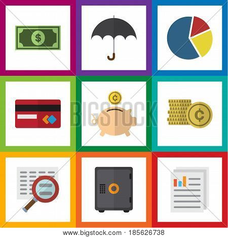 Flat Exchequer Set Of Cash, Parasol, Money Box And Other Vector Objects. Also Includes Paper, Umbrella, Coin Elements.