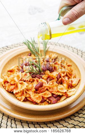 Earthenware Pot With Italian Pasta With Red Kidney Beans