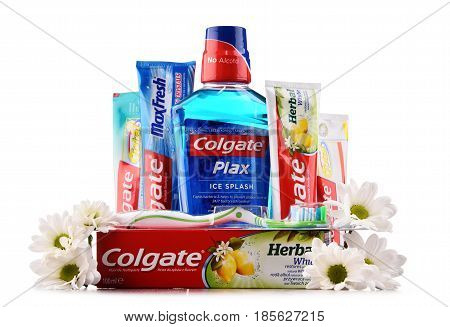 Composition With Colgate Products Isolated On White