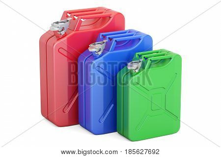 set of colored steel jerrycans 3D rendering isolated on white background