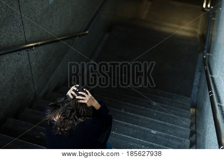 Failure suffering female lonely life