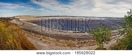 Panorama of the quarry for ore extraction. Pit of the Stoilensky Mining and Processing Plant