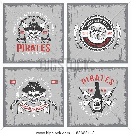 Lifestyle of pirates concepts with jolly roger chain weapon rum on grey grunge background isolated vector illustration