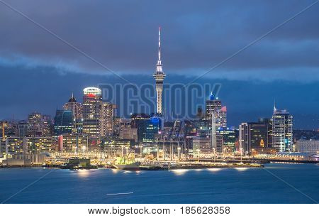Auckland cityscape in the night time, North Island, New Zealand.