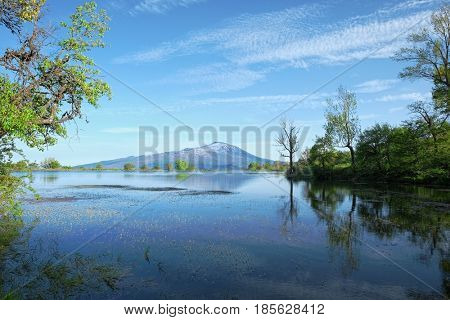 pond and Etna Volcano from Nebrodi Park, Sicily