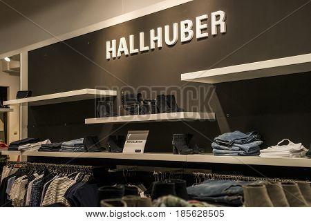 Roermond Netherlands 07.05.2017 - Logo of the Hallhuber Store in the Mc Arthur Glen Designer Outlet shopping area