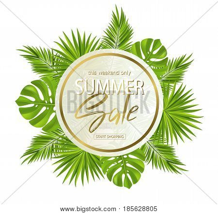 Summer sale banner, poster with palm leaves, jungle leaf and handwriting lettering. Floral tropical background. Vector illustration EPS10