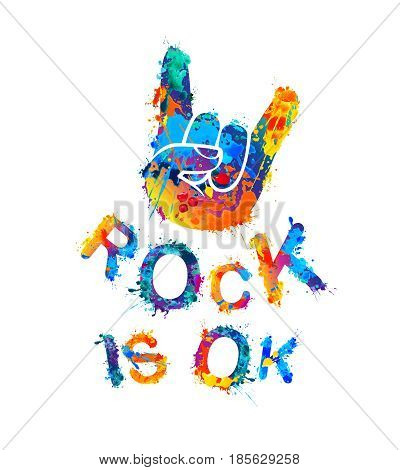 Rock is ok. Hand sign of the horns. Splash paint