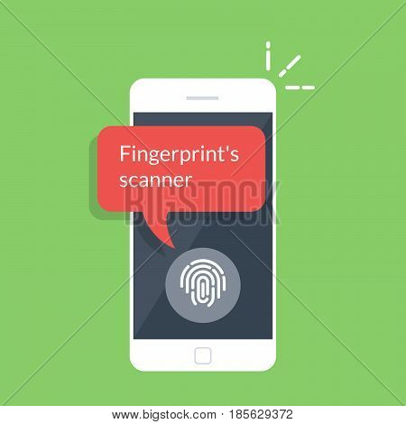 Smartphone unlocked with fingerprint button, mobile phone security, cellphone user authorization, login, protection technology. Flat vector illustration isolated on green background