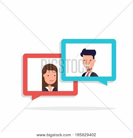 Man and woman chatting in speech bubble. Businessman and businesswoman talking. Concept of dialogue on business theme. Flat illustration isolated on white background