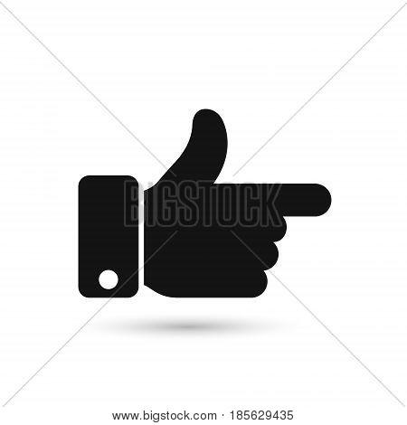 Point finger direction black icon. Man hand gesture pictogram. Vector illustration flat style design. Pointer direction forefinger silhouette.