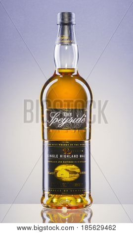 The Speyside whisky on gradient background. The Speyside is single highland malt scotch whisky produced in distillery near hamlet of Drumguish which was founded in 1962.