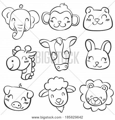 vector animal head doodle style collection stock