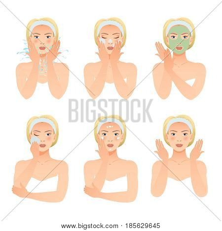 Skincare procedures collection with beautiful woman making mask washing cleaning and caring of face isolated vector illustration
