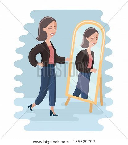 Vector cartoon illustration of young woman looking at herself in a mirror in dressing room. Young girl trying on wear in dressing room.