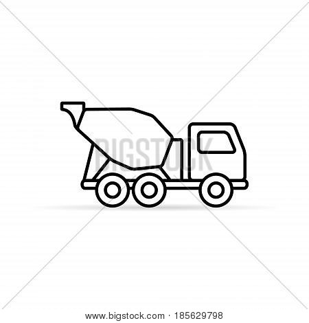 Concrete mixer line icon vector isolated simple mixer truck symbol.