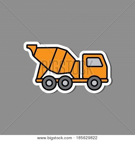 Concrete mixer sticker emblem. Yellow mixer truck label or badge. Construction machinery in flat style.