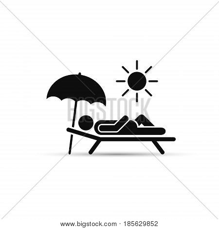 Man relax on beach under an umbrella on chaise-longue. Vector sea rest illustration.
